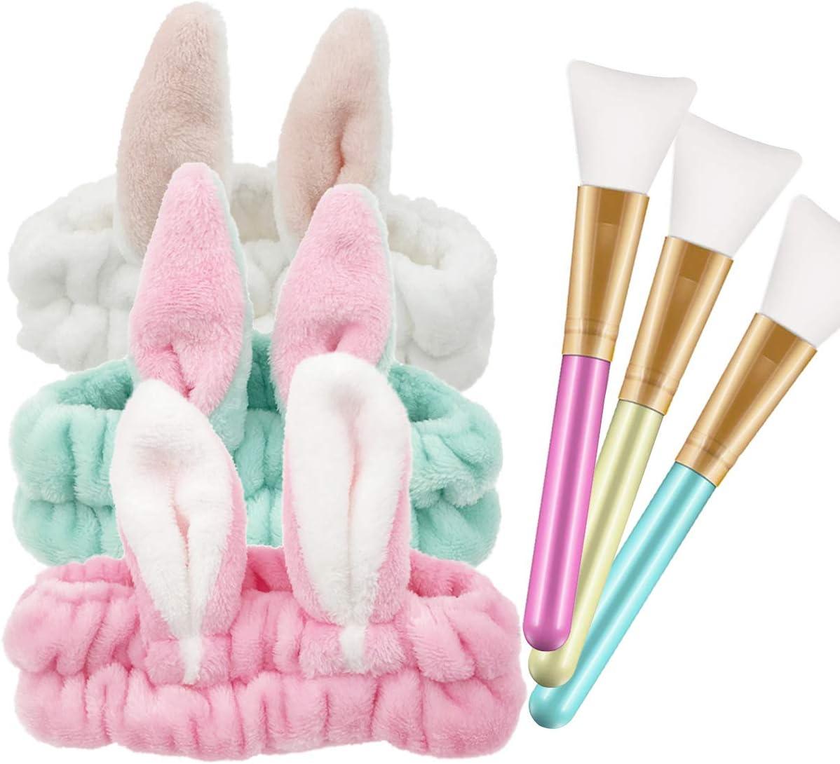 Pinceles de Mascarilla,Zuzer 3pcs Brochas Maquillaje Facial & 3pcs Venda de Pelo Mujer Diademas Pelo Banda Maquillaje para Niña Mujer Facial
