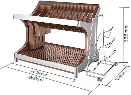 Estante de cocina Estante de Plato encimera multifunción | Rejilla de Drenaje de 2 Capas • Material ABS/extraíble y fácil de Limpiar: Amazon.es: Hogar
