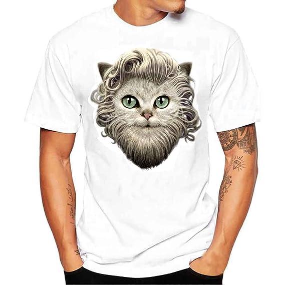 LEORTKS Camiseta Hombre, Petirrojo Gato Genial Muchacho Camiseta ...