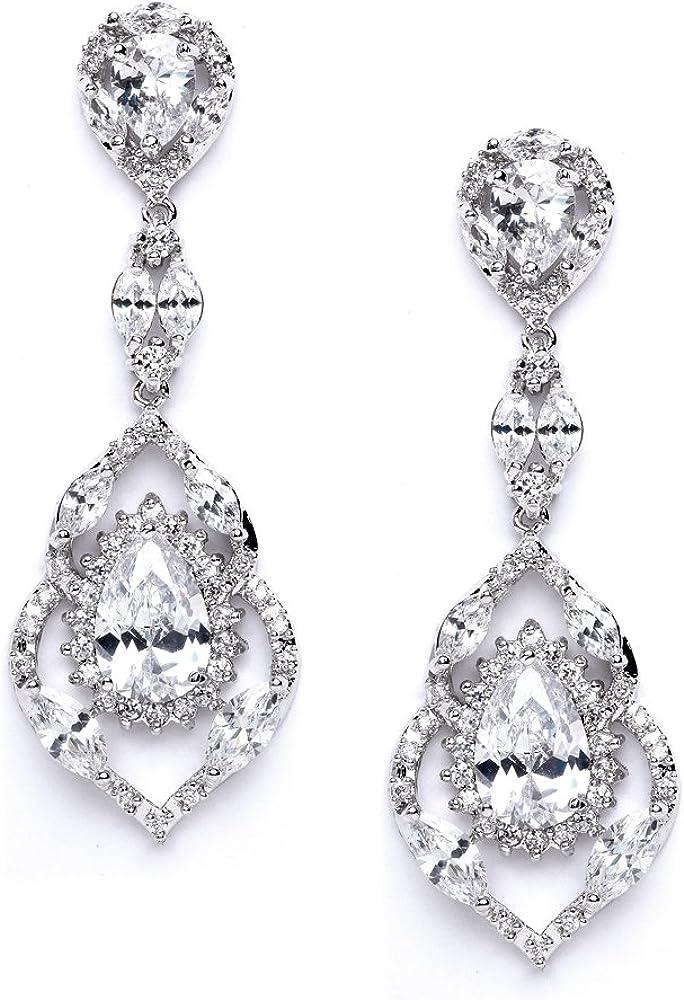 Mariell Luxury CZ Pear Shaped Teardrop Dangle Chandelier Bridal Earrings for Wedding, Bridesmaids & Prom
