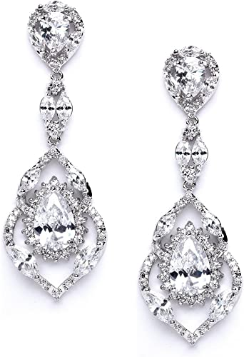 Amazon Com Mariell Luxury Cz Pear Shaped Teardrop Dangle