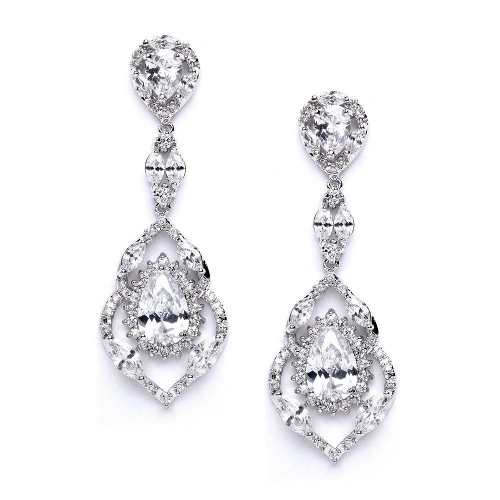 Com Mariell Luxury Cz Pear Shaped Teardrop Dangle Chandelier Bridal Earrings For Wedding Bridesmaids Prom Jewelry