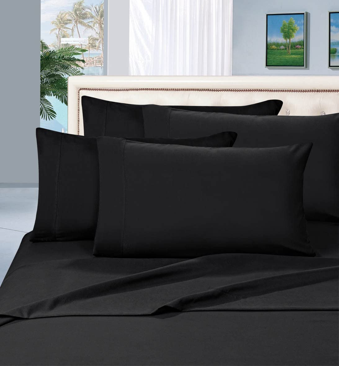 Elegant Comfort Luxurious Bed Sheets Set on Amazon 1500 Thread Count Wrinkle,Fade and Stain Resistant 4-Piece Bed Sheet Set, Deep Pocket, Hypoallergenic - California King Black