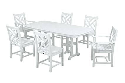 Ordinaire POLYWOOD PWS121 1 WH Chippendale 7 Piece Dining Set, White