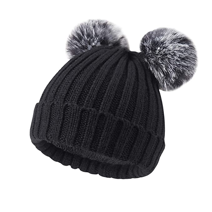Onway Baby Knit Winter Beanie with Warm Fleece Lined and Detachable 2 Faux  Fur Pom Pom 25ed1058e