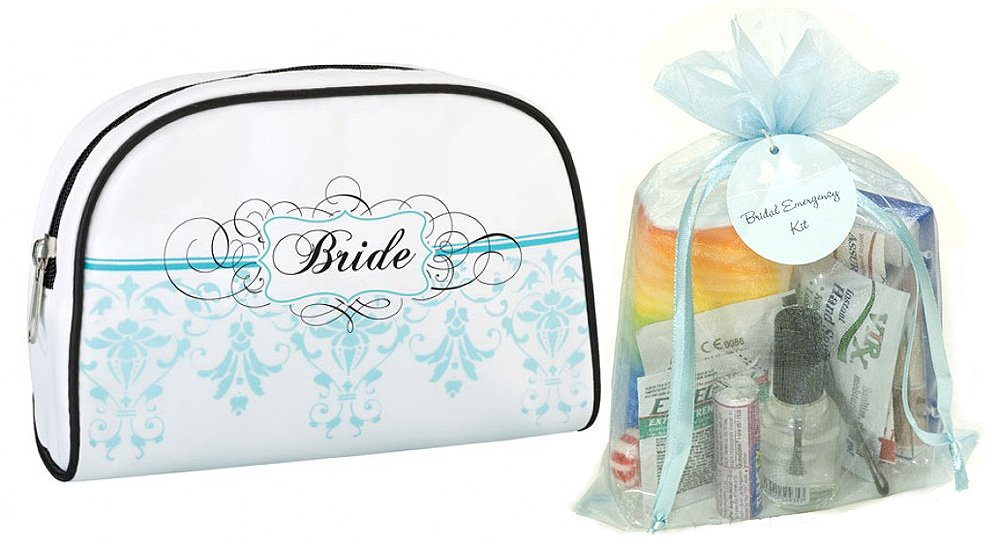Amazon.com: Wedding Day Bridal Emergency Kit in Aqua Design Bride ...