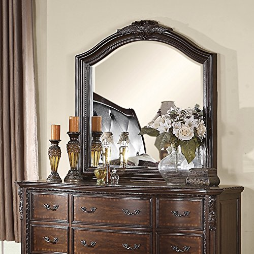 Coaster Home Furnishings Maddison Mirror with Craved Wood Detailing, Cappuccino