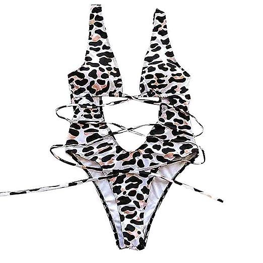 08d05c7e492 ASNUG Women's One Piece Swimsuit Leopard Print Swimwear Bandage High Cut Monokini  Bathing Suit