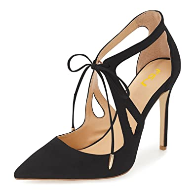 212f3ae95b79 FSJ Women Fashion Pointed Toe Stiletto High Heel Strappy Cutout Dress  Sandals Lace up Bowknots Suede