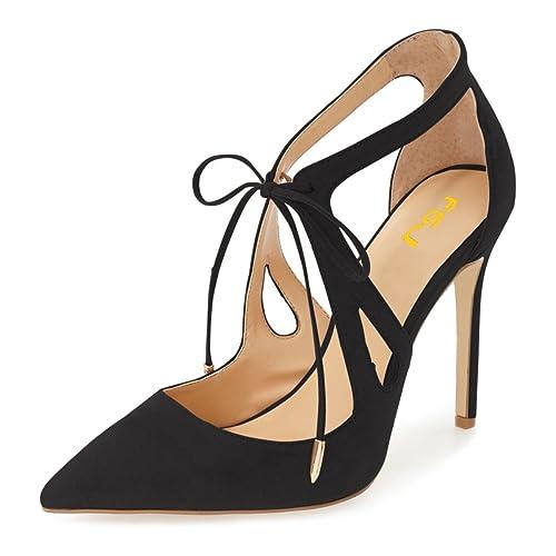 037a26d8742 FSJ Women Fashion Pointed Toe Stiletto High Heel Strappy Cutout Dress  Sandals Lace up Bowknots Suede Party Pumps Shoes Size 4-15 US