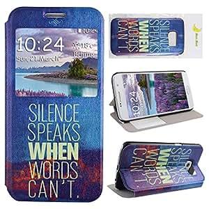 Moon mood® PU Funda de piel para Samsung Galaxy S6(5.1pulgadas) pantalla móvil Ventana Multicolor Pintura Función Atril funda