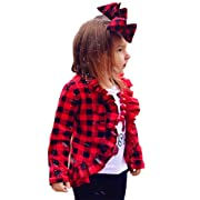 Newborn Baby Girls Ruffle Pattern Long Sleeve Red Plaid Flannel Shirt Tops Fall Winter Outfits (1T-2T, Red)