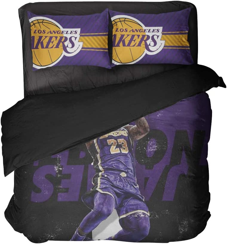 Cospnt Los Angeles Basketball Pillowcases Player Number 23 Bedspread Sets Decoration Bedroom Twin 3 Pieces (Purple, Full 3pcs)
