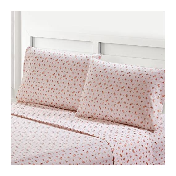 Amrapur Microfiber Sheet Set | Luxuriously Soft 100% Microfiber Rose Printed Bed Sheet Set with Deep Pocket Fitted Sheet, Flat Sheet and 2 Pillowcases , 4 Piece Set,  Full - SET INCLUDES: (1) Flat sheet, (1) Fitted sheet, (2) Pillowcases. MATERIAL: Made with 100% microfiber polyester. FEATURES: The microfiber brushed yarns are luxuriously soft and feel like high thread count sheets. Each piece is printed with a classic, elegant Rose pattern. - sheet-sets, bedroom-sheets-comforters, bedroom - 61D Vp63r L. SS570  -