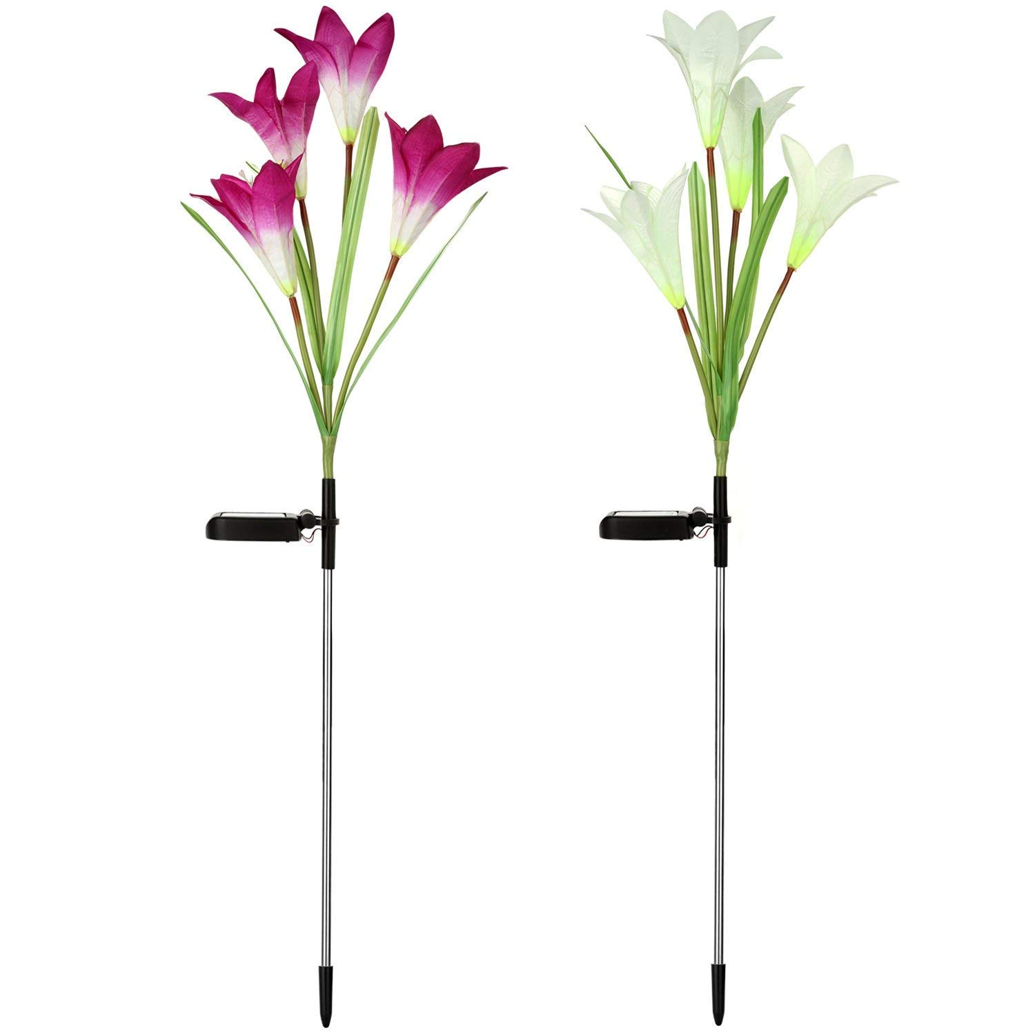 SW SAPPYWOON Outdoor Solar Flower Lights, 2 Packs Solar Garden Stake Lights with 8 Lily Flowers, Multi-Color Changing LED Solar Outdoor Garden Lights for Garden, Patio, Backyard (Purple and White)