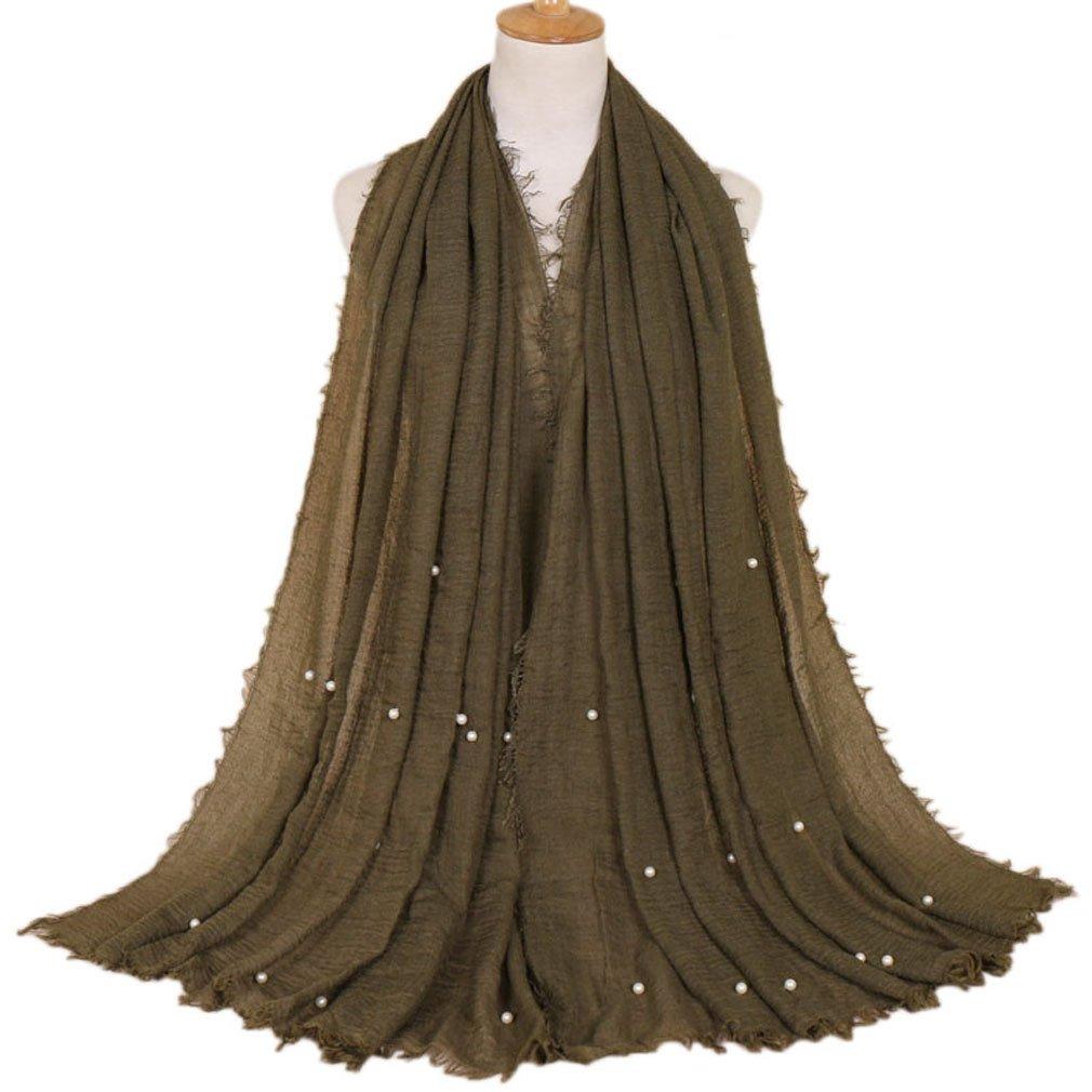 LMVERNA Women crinkled pearls scarf wrinkle muslim scarves hijab fashion long soft wrap shawls (Army)