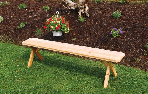 Outdoor 2 Foot Cross Leg Pine Picnic Bench ONLY - Painted- Amish Made USA -Carribean Blue
