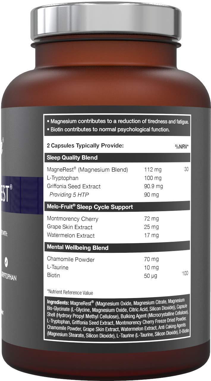 5-HTP + magnesio + melatonina natural para el sueño - Montmorency Cherry, Chamomile, L Triptófano: Amazon.es: Salud y cuidado personal