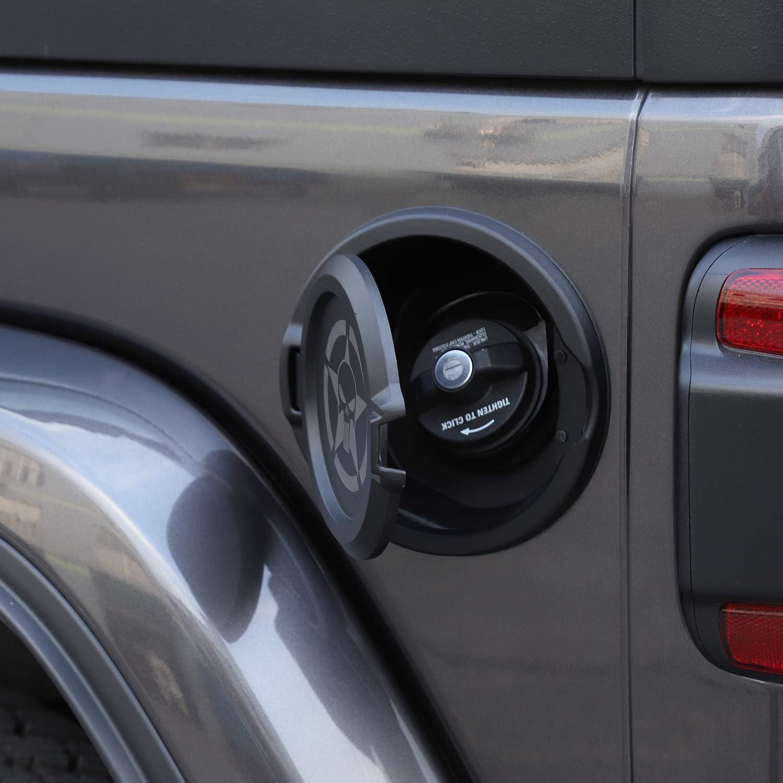 JeCar JL Gas Cap Cover Fuel Filler Door Locking Gas Cap Fuel Tank Door Locking Gas Tank Cap for Jeep Wrangler JL JLU Unlimited Rubicon Sahara 4-Doors 2-Doors 2018-2019 Black Star Skull
