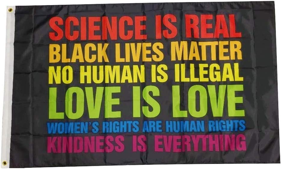 Trendyluz Flags Science Is Real Black Lives Matter Blm Love Rainbow 90 X 150 Cm Banner Garten