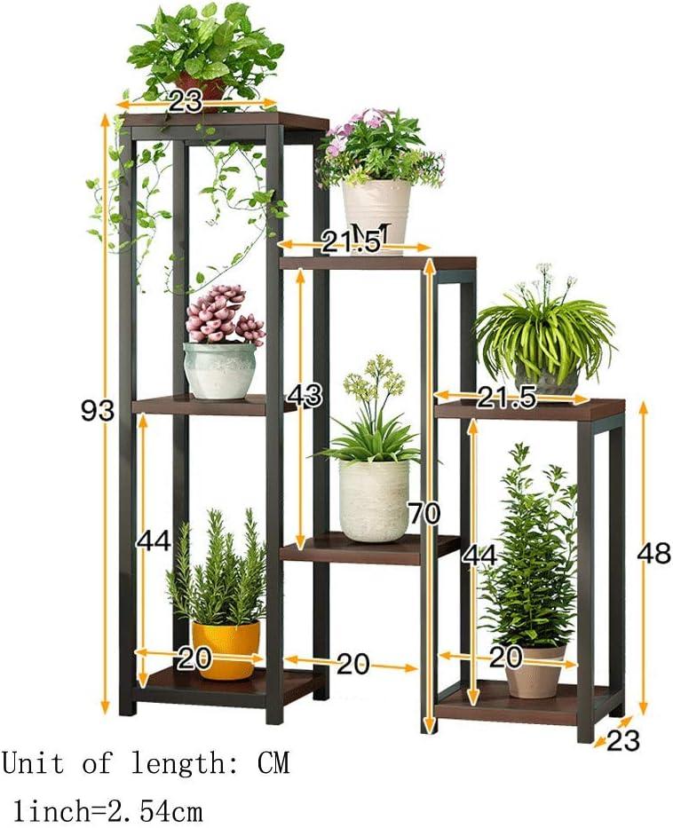 Plant Stand 7 Pots Metal Wood Multi Layer Flower Pots Shelf Plants Holder Indoor Outdoor Planter Plant Stands Display Shelving Unit for Patio Garden Corner Balcony Living Room