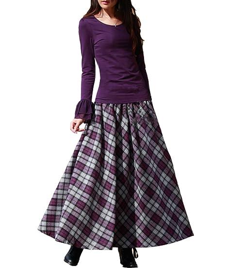 67f49a6f20 Femirah Women's Purple Wool Skirt Long Woolen Skirt Autumn Winter Maxi Skirt:  Amazon.co.uk: Clothing