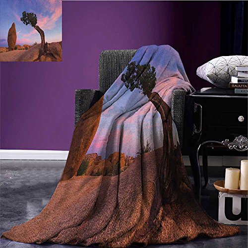 Americana Custom blanket Bonsai Trees Twilight Blue Hour Peaceful Nature Rock Formation all weather blanket Violet Blue Pink Pale Brown size:59