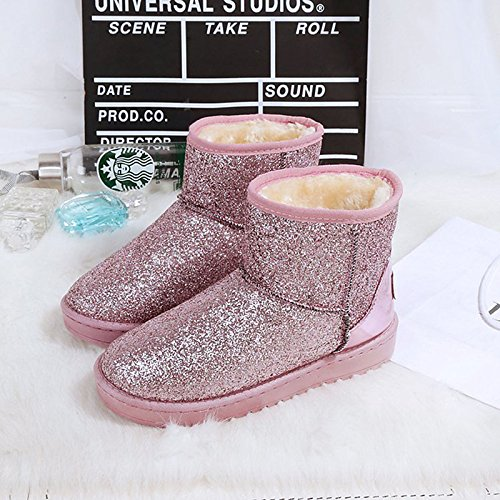 Flat Outdoor Toe Mid Grey PU for Comfort HSXZ ZHZNVX Winter Pink Boots Calf Shoes Null Round Women's Black Gray Boots CP8nwqZ