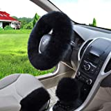 "W-ShiG Winter Warm Faux Wool Handbrake Cover Gear Shift Cover Steering Wheel Cover 14.96""x 14.96"" 1 Set 3 Pcs"