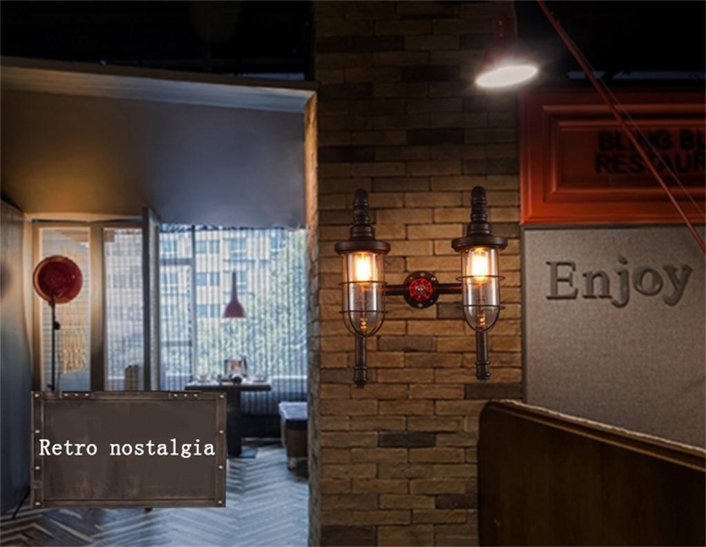 Illuminazione romantica americano stile loft industriale retrò acqua a due punte di parete creativo