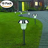 10 Pack Outdoor Stainless Steel Solar Pathway Lights, Super-Bright 15 Lumens, LED Solar Powered Decorative Lights for Garden/ Lawn/ Walkway/ Patio/ Driveway/ Yard/ Sidewalk/ Deck(Warm White)