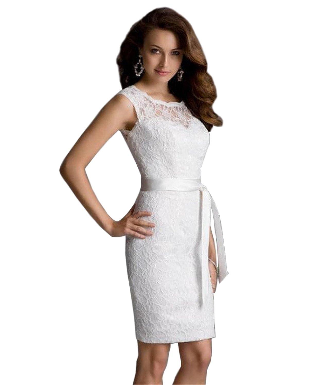 Dressvip Lace Knielänge Weiß Kleider Rundhals Weiß Damen Kleider ...