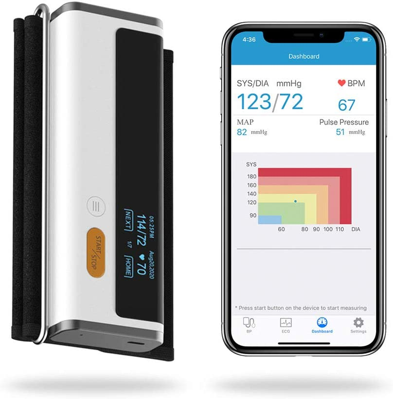 Wellue Armfit Plus Blood Pressure Monitor Bluetooth, Upper Arm Cuff, Accurate Digital BP Machine, Heart Health Monitoring Device, Free for iOS & Android