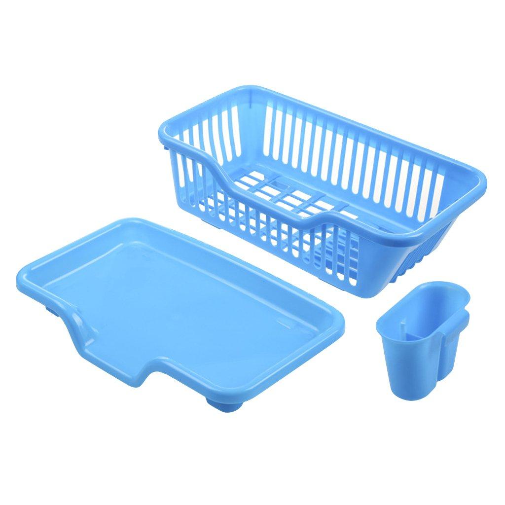 SimpleLife PP Spülbecken Abtropfgestell Rack Waschen Halter Basket Organizer Tablett Blau 44, 5 × 23 × 18 cm / 17, 52 × 9, 06 × 7, 09 in