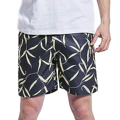 29beb75975ed3 Allywit Men's Tropical Swim Trunks Quick Dry Beach Shorts Watersports Black