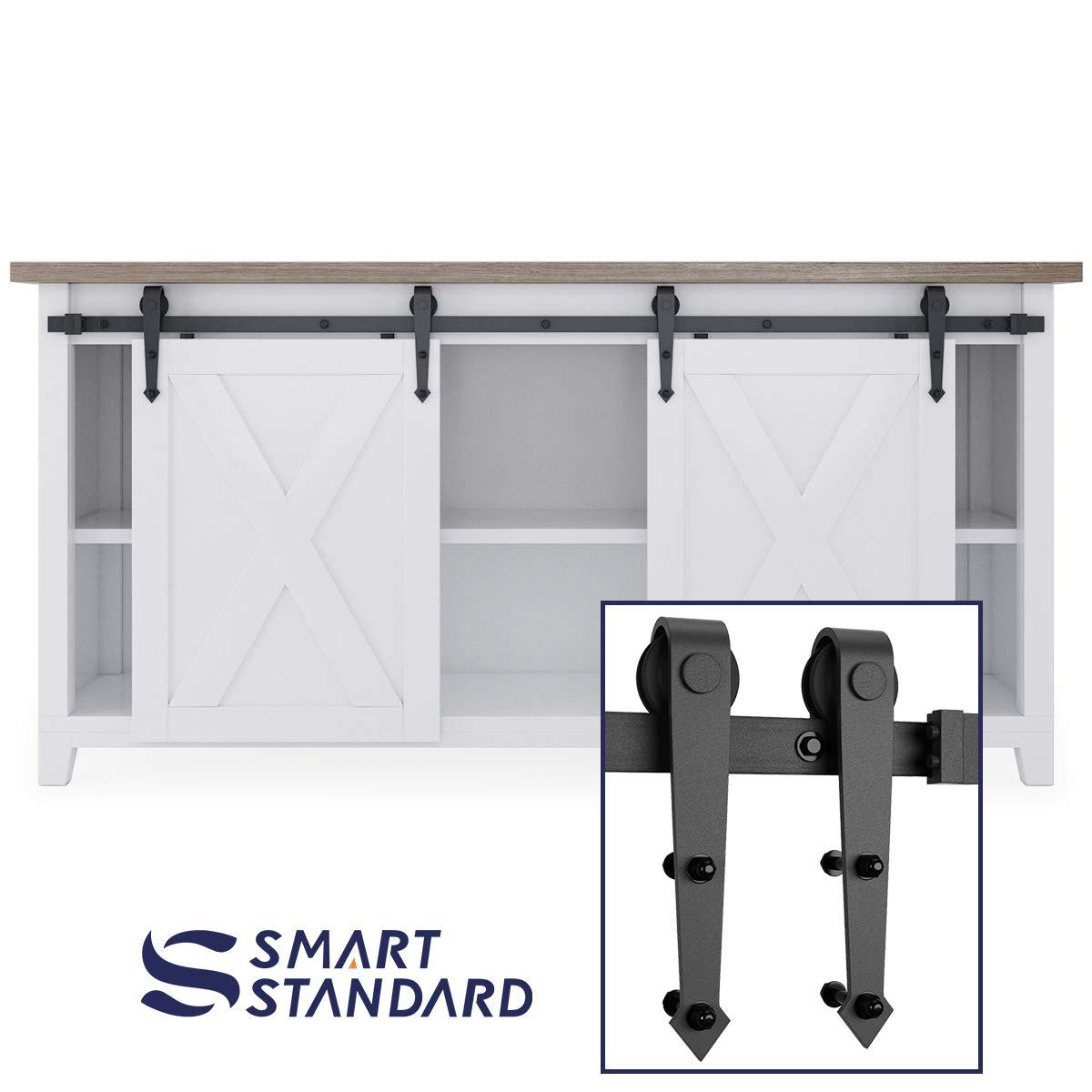 6ft Double Door Cabinet Barn Door Hardware Kit- Mini Sliding Door Hardware - for Cabinet TV Stand - Simple and Easy to Install - Fit 24'' Wide Door Panel (No Cabinet) (Mini Arrow Shape Hangers) by SMARTSTANDARD (Image #1)