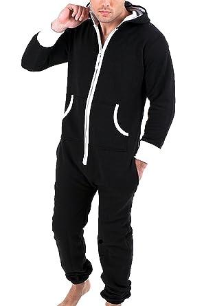 75cf64f76 Juicy Trendz Mens Plain Onesie Hoodie Jumpsuit Playsuit All In One Piece  Black Small