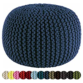 Cotton Craft – Hand Knitted Cable Style Dori Pouf – Floor Ottoman – 100% Cotton Braid Cord – Handmade & Hand Stitched – Truly one of a Kind Seating – 20 Dia x 14 High