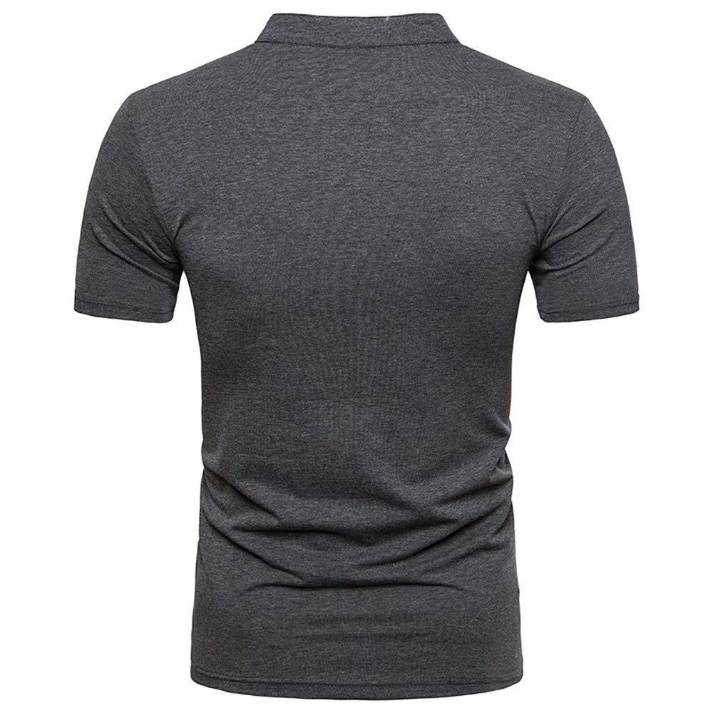 Bestow Cuello de Hombre Camiseta de Manga Corta Hombre Verano Casual S/ólido Cuello en V Jersey de Manga Corta Camiseta Top Blusa