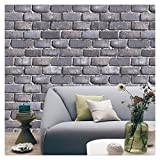HaokHome 80104 Faux Brick Wallpaper Rolls Black/Grey/Dk.Blue Textured Wall Decoration 20.8'' x 31ft