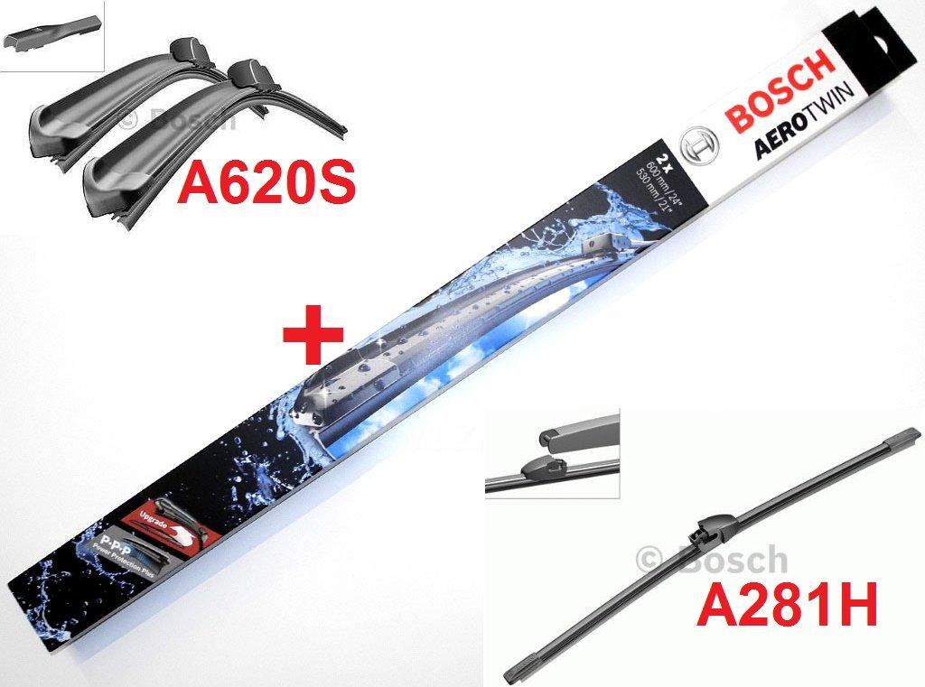Limpiaparabrisas Bosch Aerotwin A620S, equipamiento completo delantero y trasero. Longitud:600/475 mm (3397007620); longitud del limpiaparabrisas trasero ...
