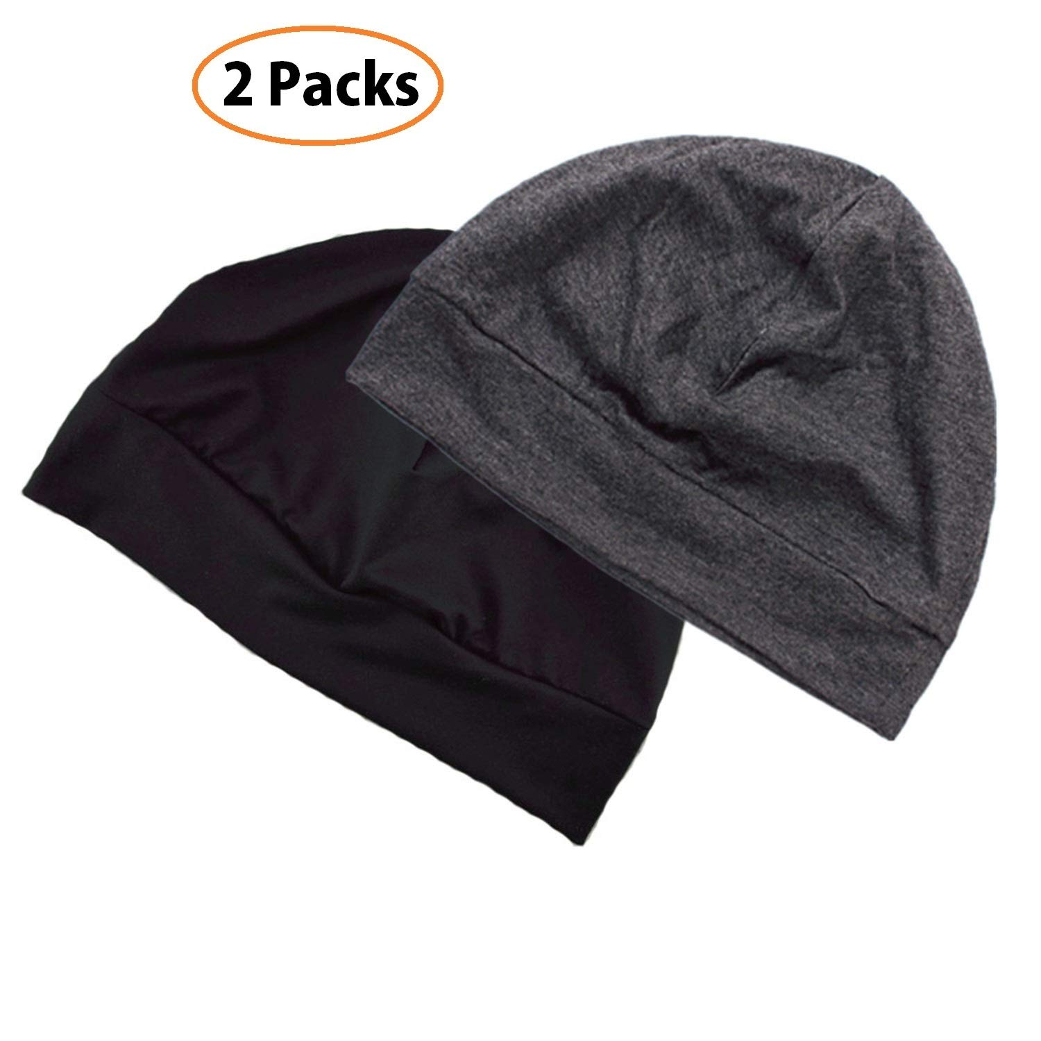 Headshion Unisex Chemo Cap 2pcs Cotton Beanie Hat Sleep Night Cap Skull Cap for Men/Women