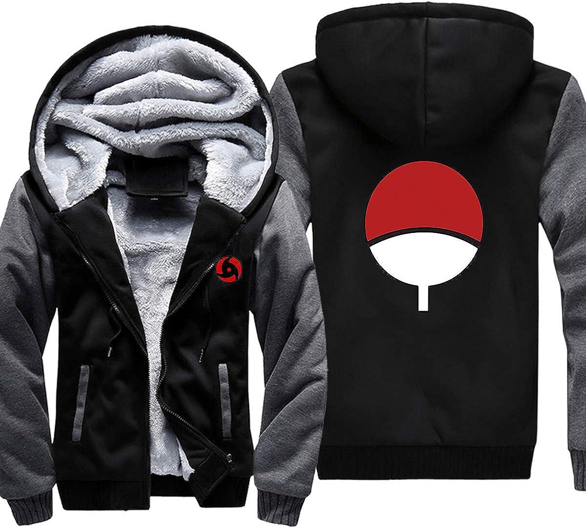 ELEFINE Boys Mens Fleece Thick Hoodies Naruto Cosplay Uchiha Itachi Mangekyo Sharingan Zip Jacket