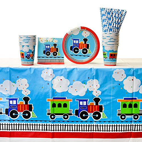 All Aboard Train Party Supplies Pack for 16 Guests | 24 Straws, 16 Dessert Plates, 16 Beverage Napkins, 16 Paper Cups, and 1 Table Cover | Train Decorations for The Perfect Train Birthday Party