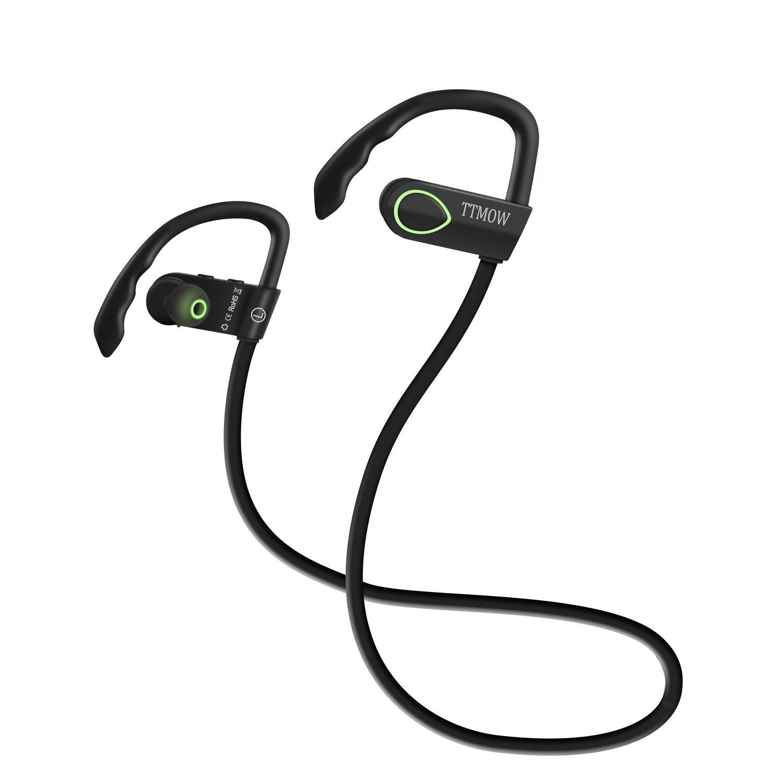 TTMOW Auriculares Deportivos Bluetooth 4.0 Estéreo para Correr y Gimnasio Auriculares Inalámbricos, Tecnología Cancelación de ruido CVC 6.0 Auriculares para ...