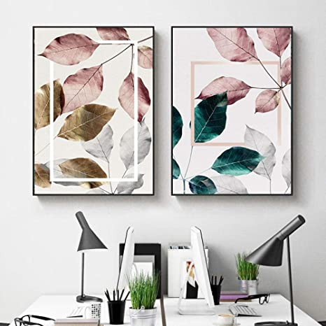 Poster Nordic Green Pink Leaf Canvas Prints Arts  Abstract Plant Canvas Pictures