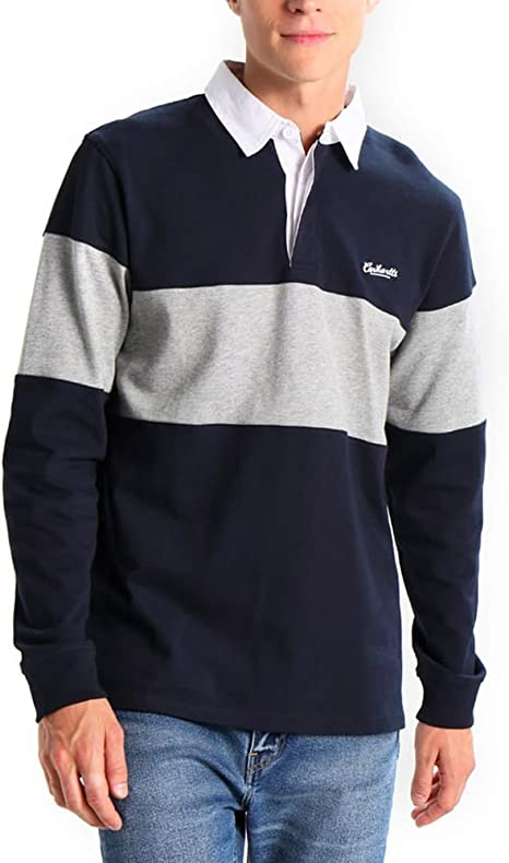 Carhartt L/S Vintage Brush Rugby Polo Navy White - M: Amazon.es ...