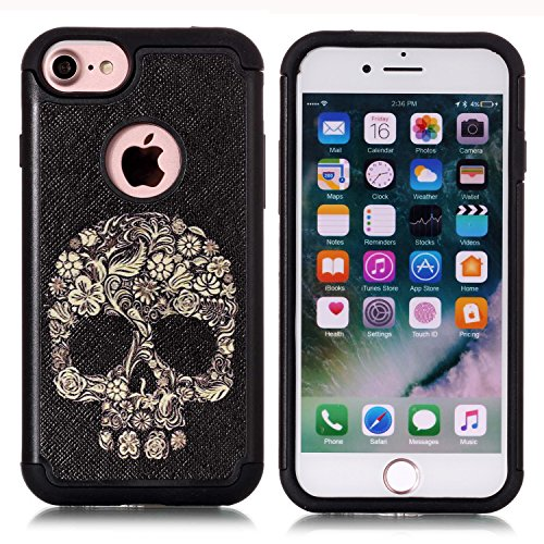 Skull Pattern Hard Case (Iphone 7 Case, Iphone 8 Case, Sugar Skull Floral Skull Pattern Shock-Absorption Hard PC and Inner Silicone Hybrid Dual Layer Armor Defender Protective Case Cover for Apple iphone 7 and iphone 8)