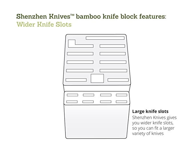 Bamboo Wood Knife Block without Knives, Countertop Butcher Block Knife Holder and Organizer with Wide Slots for Easy Kitchen Knife Storage (Large)