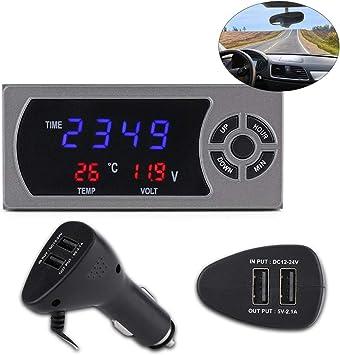 12-24 V 3-in-1 LED orologio digitale per automobile termometro voltmetro indica la tensione e la temperatura termometro digitale LCD per auto